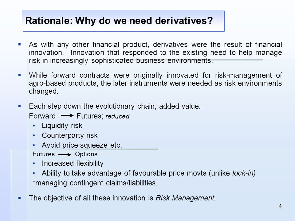 Rationale: Why do we need derivatives