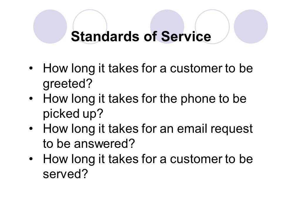 Standards of Service How long it takes for a customer to be greeted