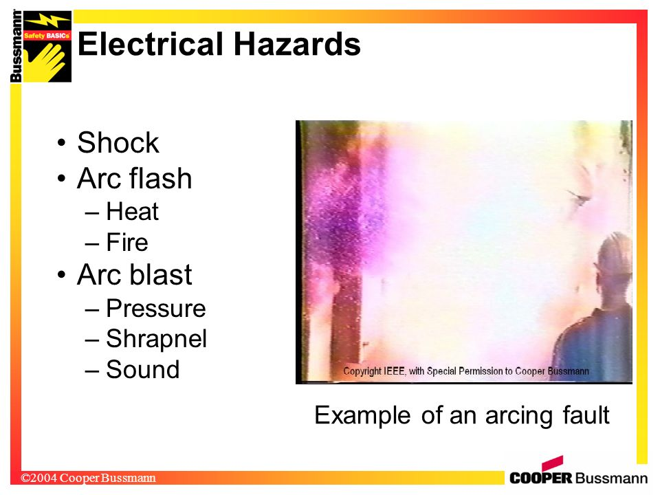 Example of an arcing fault