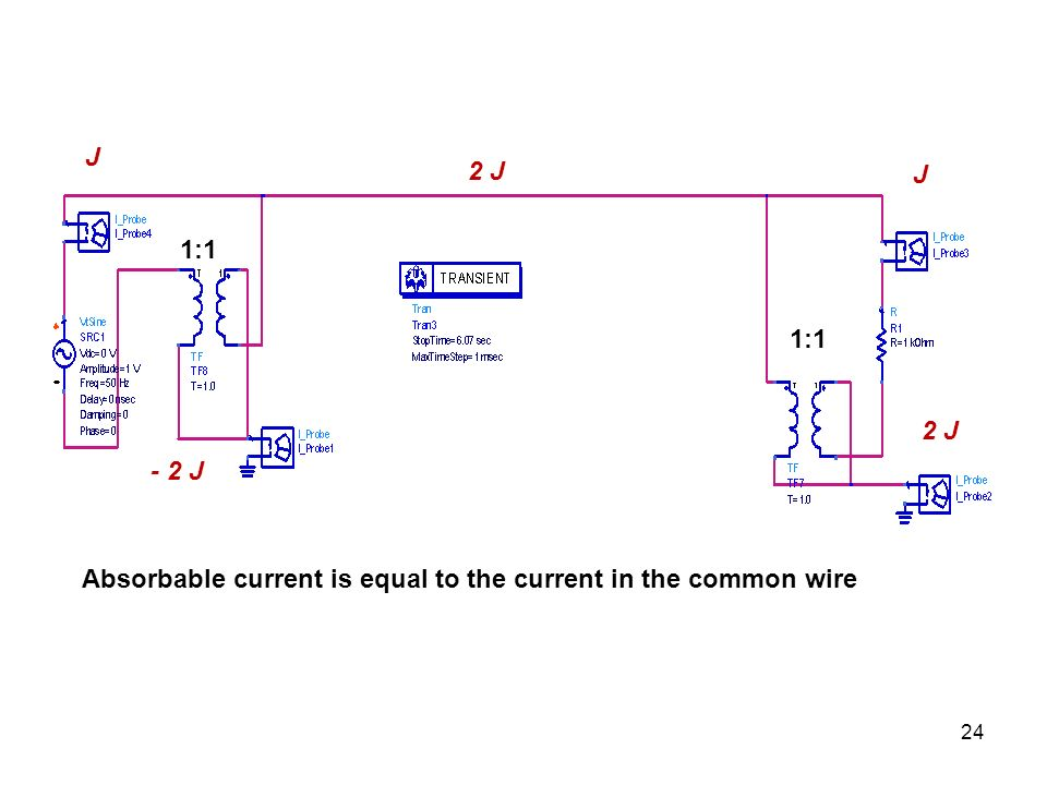 J 2 J J 1:1 1:1 2 J - 2 J Absorbable current is equal to the current in the common wire