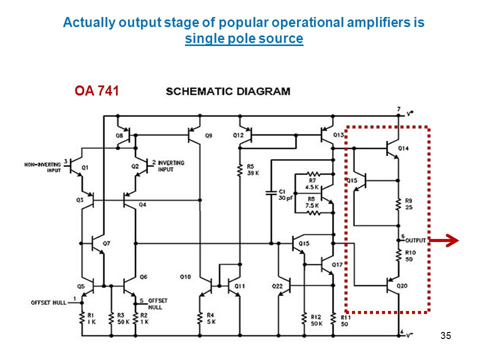 Actually output stage of popular operational amplifiers is single pole source