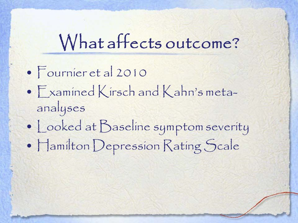 What affects outcome Fournier et al 2010