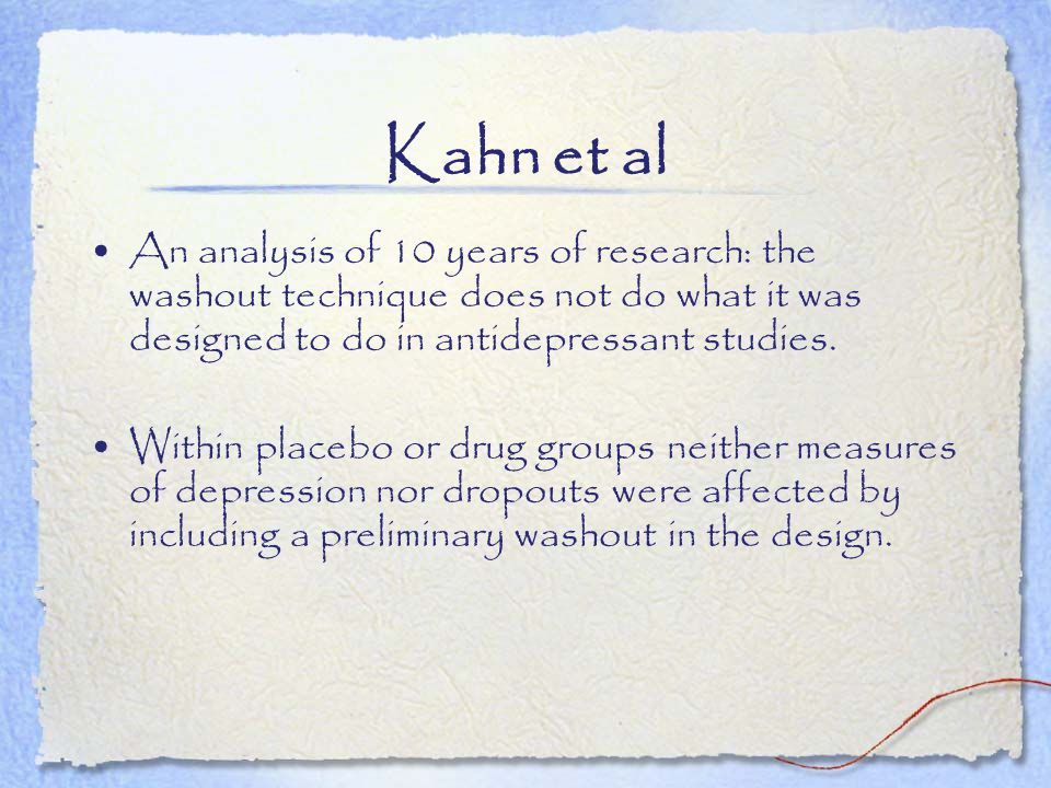 Kahn et al An analysis of 10 years of research: the washout technique does not do what it was designed to do in antidepressant studies.