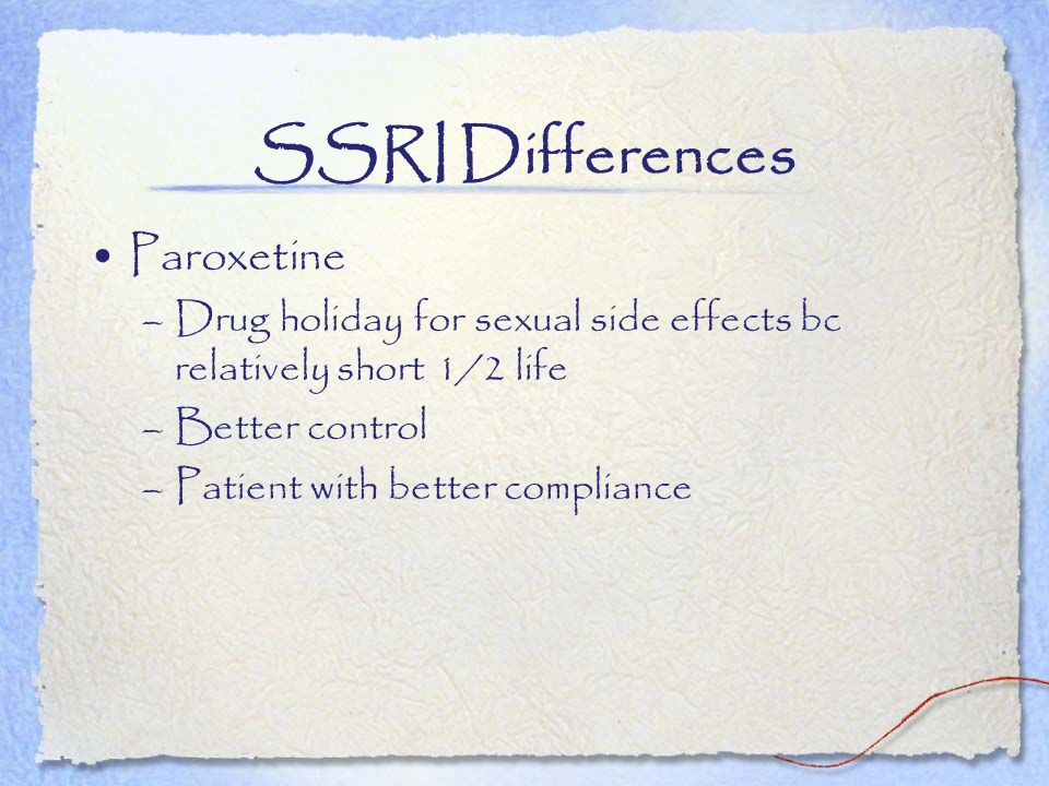 SSRI Differences Paroxetine
