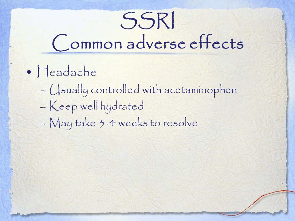 SSRI Common adverse effects