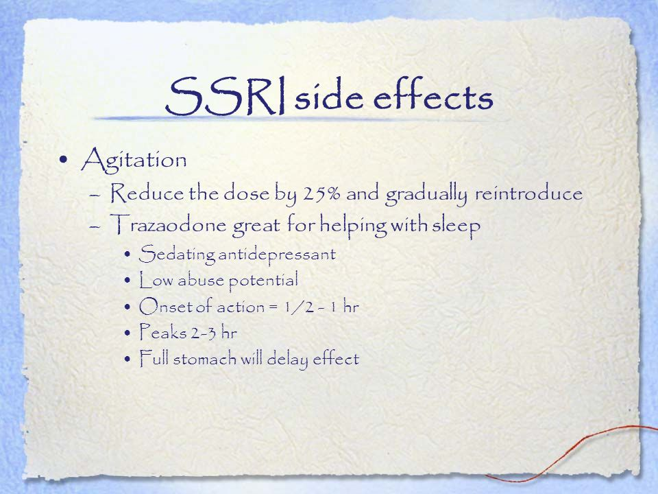 SSRI side effects Agitation