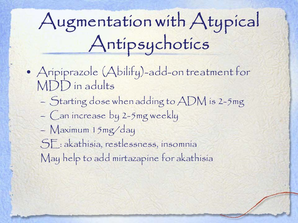 Augmentation with Atypical Antipsychotics
