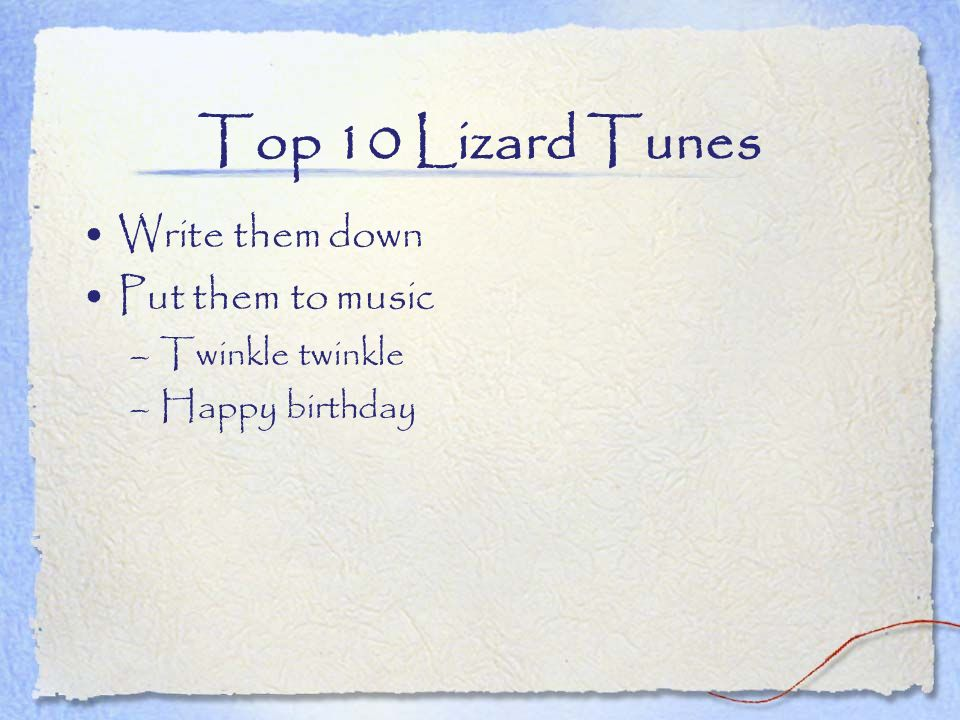 Top 10 Lizard Tunes Write them down Put them to music Twinkle twinkle
