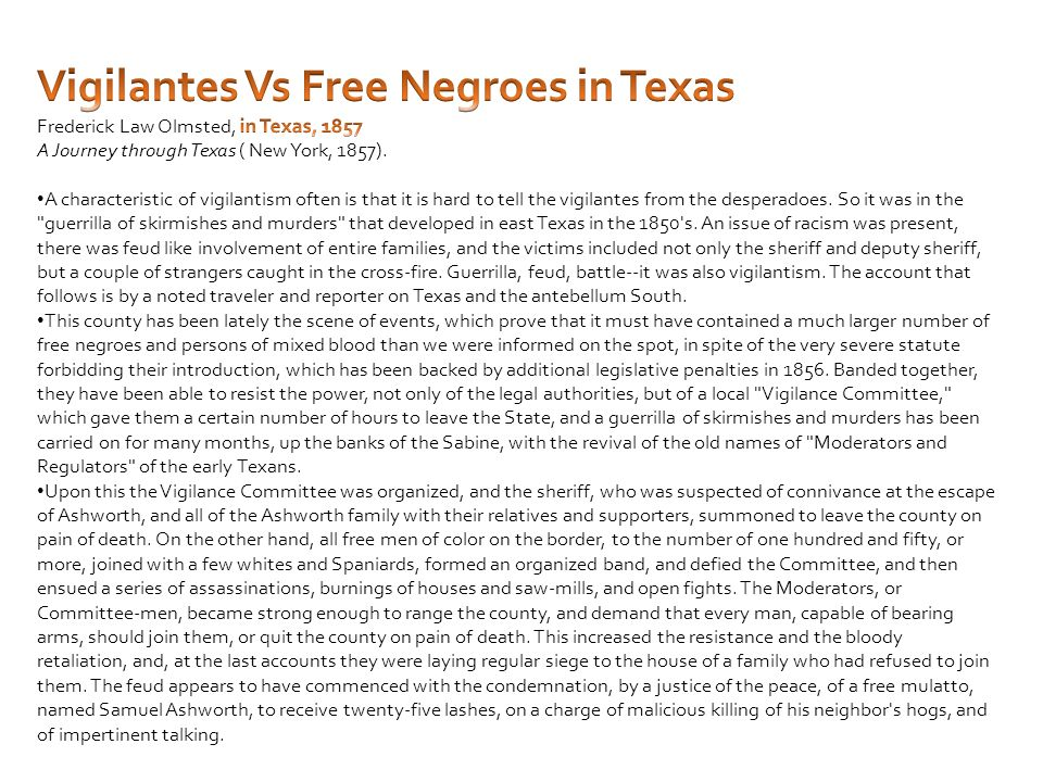 Vigilantes Vs Free Negroes in Texas