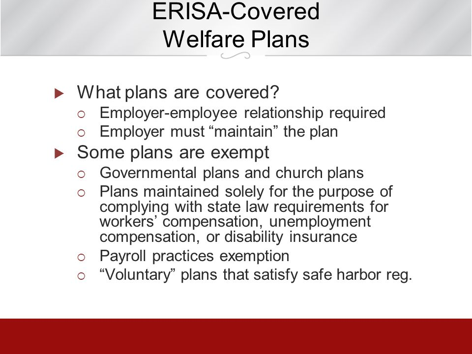 ERISA-Covered Welfare Plans