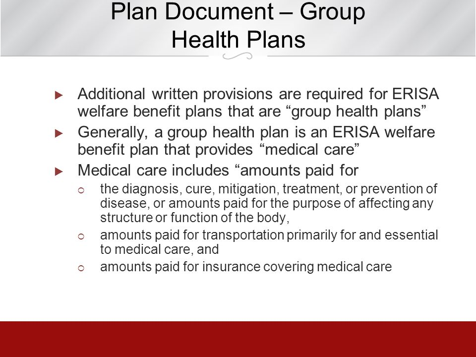 Plan Document – Group Health Plans