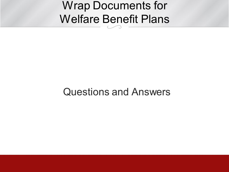 Wrap Documents for Welfare Benefit Plans