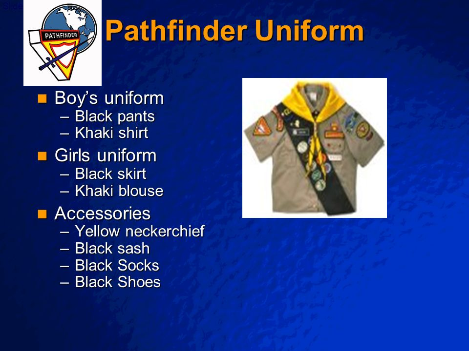 Pathfinder Uniform Boy's uniform Girls uniform Accessories Black pants