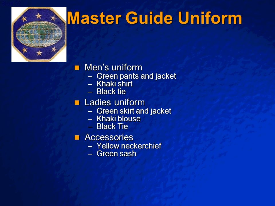 Master Guide Uniform Men's uniform Ladies uniform Accessories