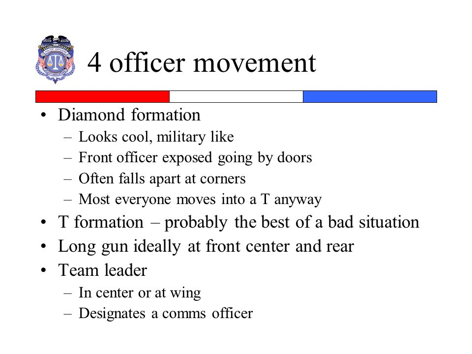 4 officer movement Diamond formation