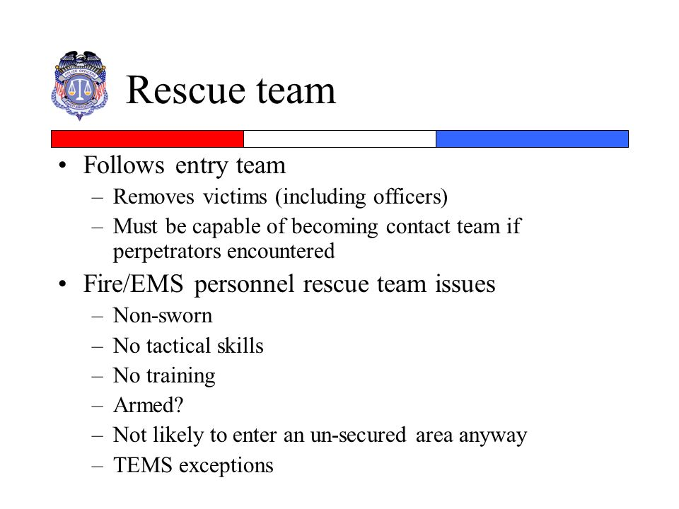 Rescue team Follows entry team Fire/EMS personnel rescue team issues