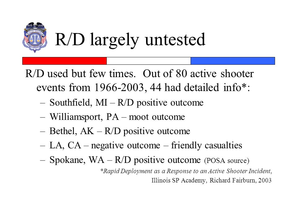R/D largely untested R/D used but few times. Out of 80 active shooter events from 1966-2003, 44 had detailed info*: