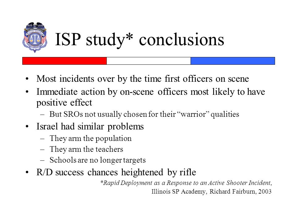 ISP study* conclusions