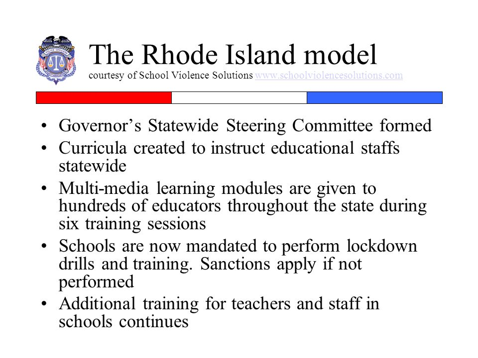 The Rhode Island model courtesy of School Violence Solutions www