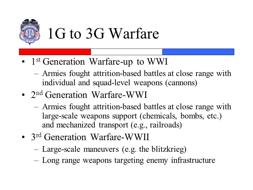1G to 3G Warfare 1st Generation Warfare-up to WWI