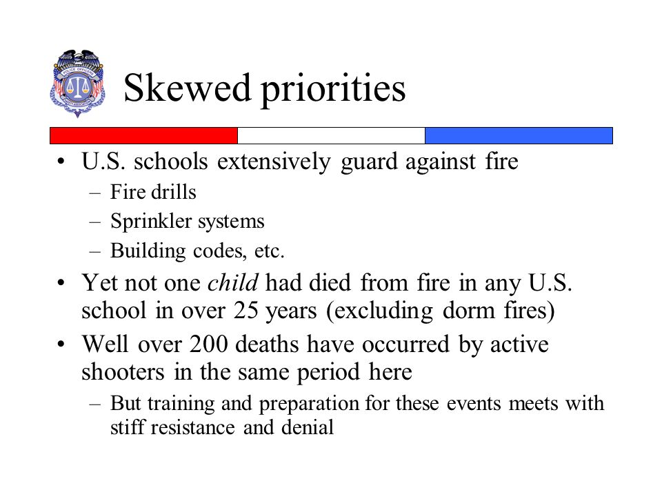 Skewed priorities U.S. schools extensively guard against fire