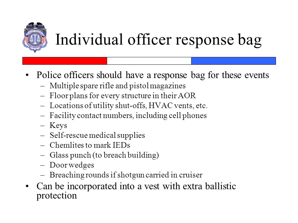 Individual officer response bag