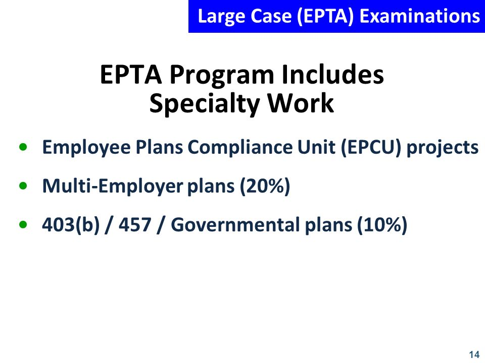 EPTA Program Includes Specialty Work