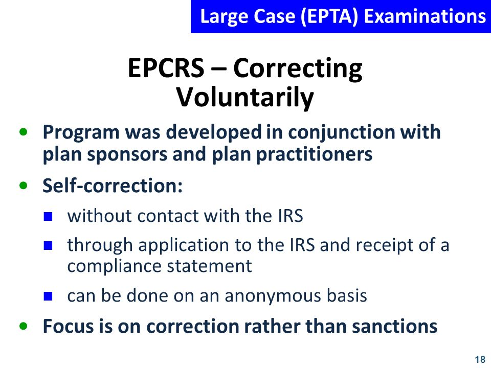 EPCRS – Correcting Voluntarily