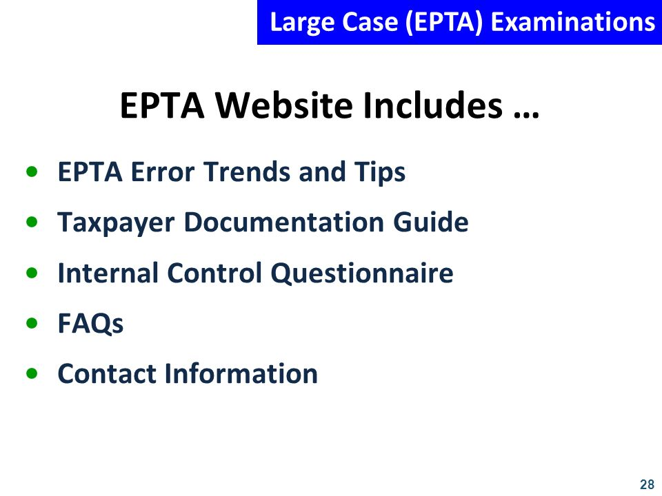 EPTA Website Includes …