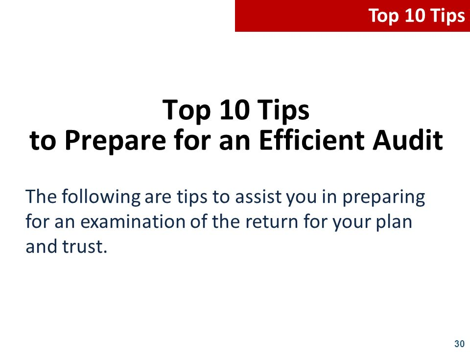 Top 10 Tips to Prepare for an Efficient Audit