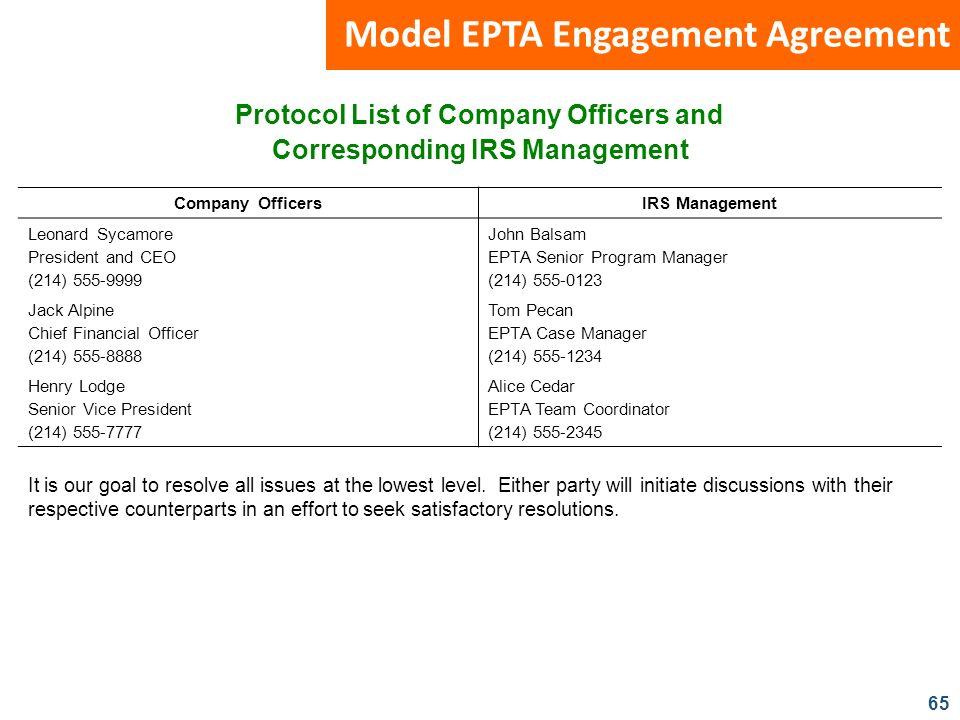 Corresponding IRS Management