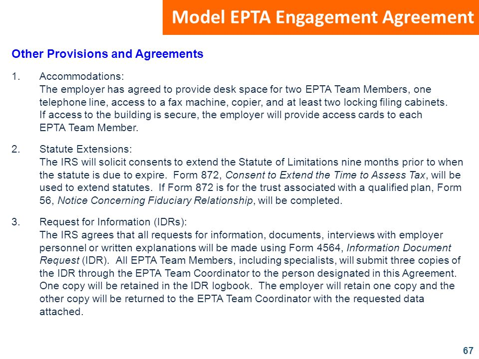 Model EPTA Engagement Agreement