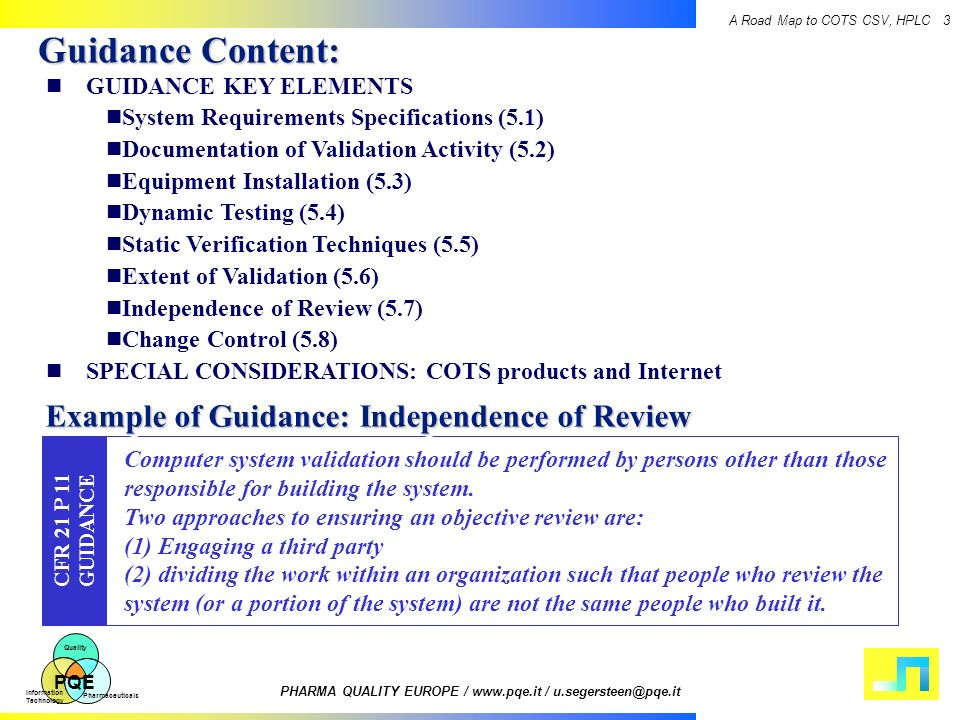 Guidance Content: Example of Guidance: Independence of Review