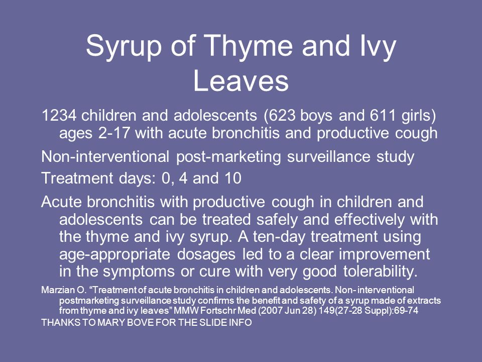 Syrup of Thyme and Ivy Leaves