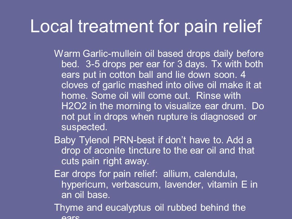 Local treatment for pain relief