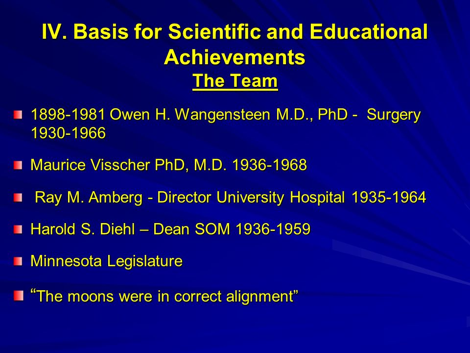 IV. Basis for Scientific and Educational Achievements