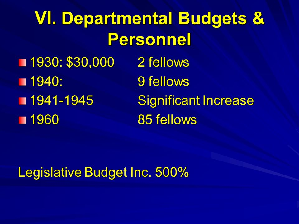 VI. Departmental Budgets & Personnel