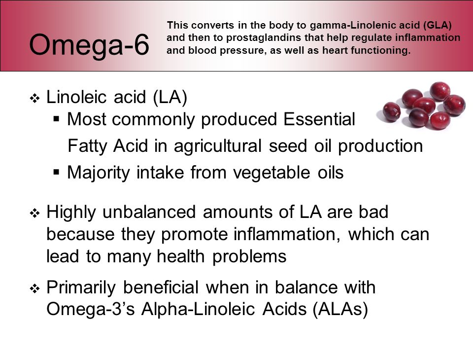 Omega-6 Linoleic acid (LA) Most commonly produced Essential