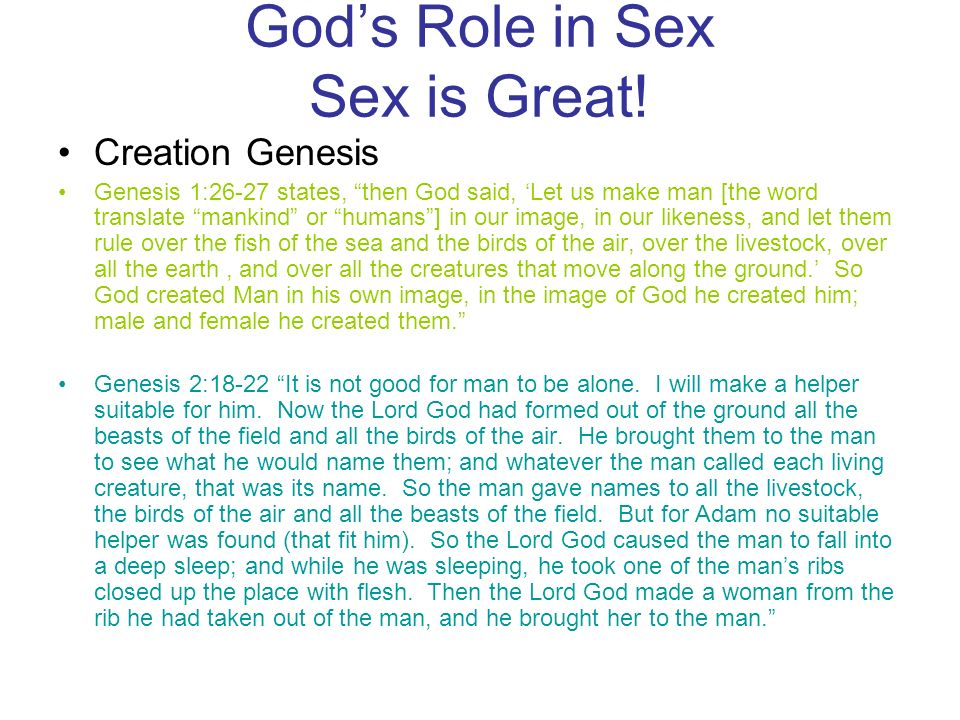 God's Role in Sex Sex is Great!
