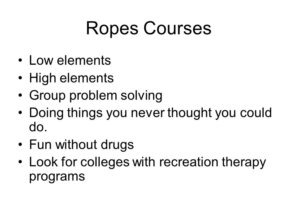 Ropes Courses Low elements High elements Group problem solving
