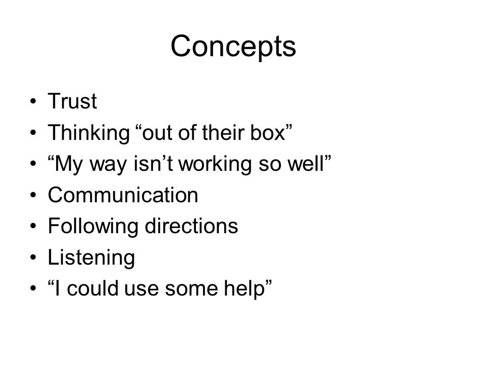 Concepts Trust Thinking out of their box