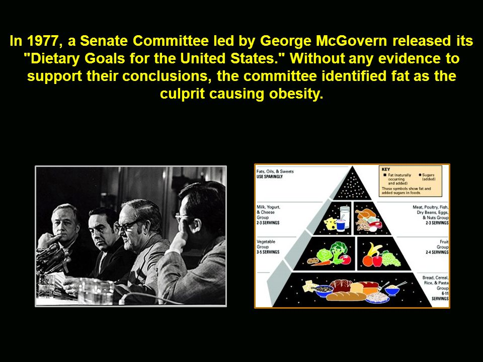 In 1977, a Senate Committee led by George McGovern released its Dietary Goals for the United States. Without any evidence to support their conclusions, the committee identified fat as the culprit causing obesity.