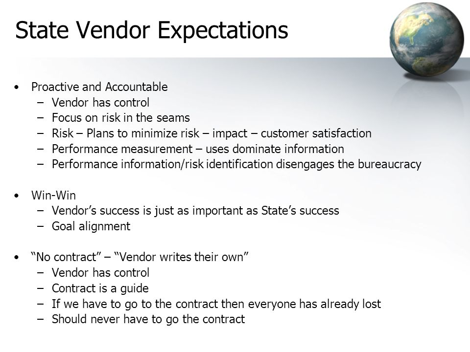 State Vendor Expectations