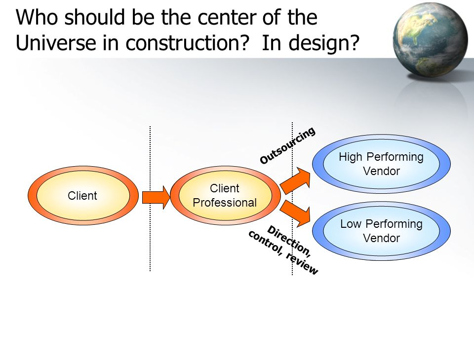 Who should be the center of the Universe in construction In design