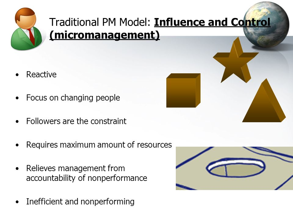 Traditional PM Model: Influence and Control (micromanagement)