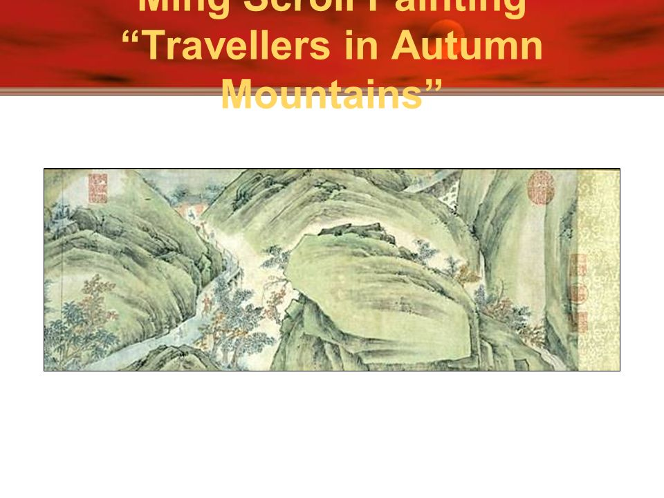 Ming Scroll Painting Travellers in Autumn Mountains