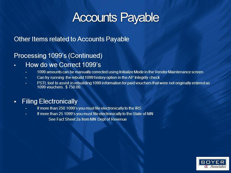 Accounts Payable Other Items related to Accounts Payable