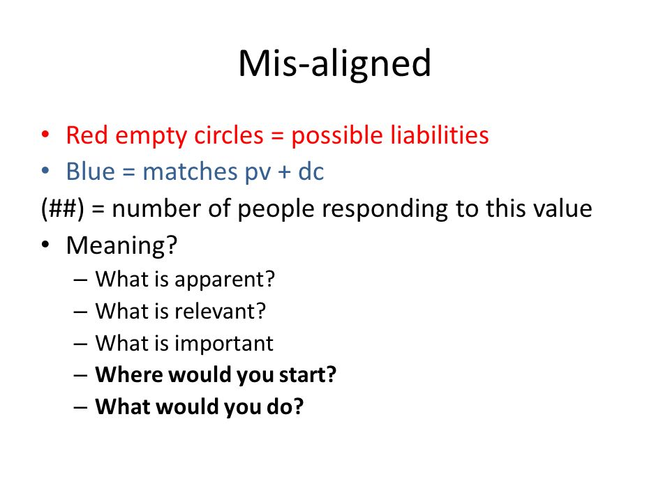 Mis-aligned Red empty circles = possible liabilities