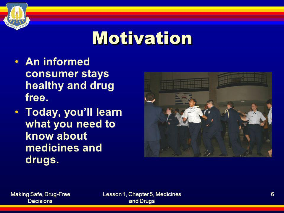 Motivation An informed consumer stays healthy and drug free.