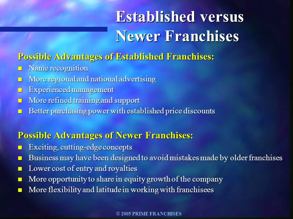 Established versus Newer Franchises